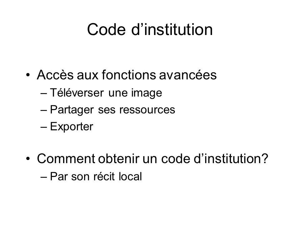 Code d'institution Accès aux fonctions avancées