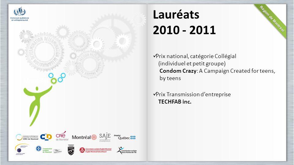 Lauréats 2010 - 2011 Prix national, catégorie Collégial