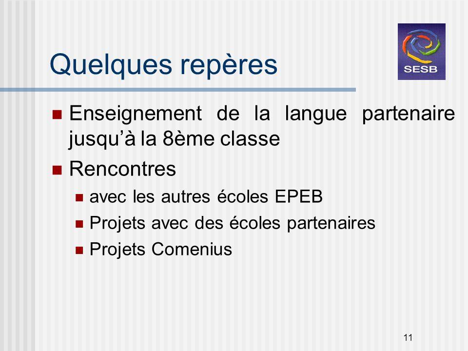 Quelques repères Enseignement de la langue partenaire jusqu'à la 8ème classe. Rencontres. avec les autres écoles EPEB.