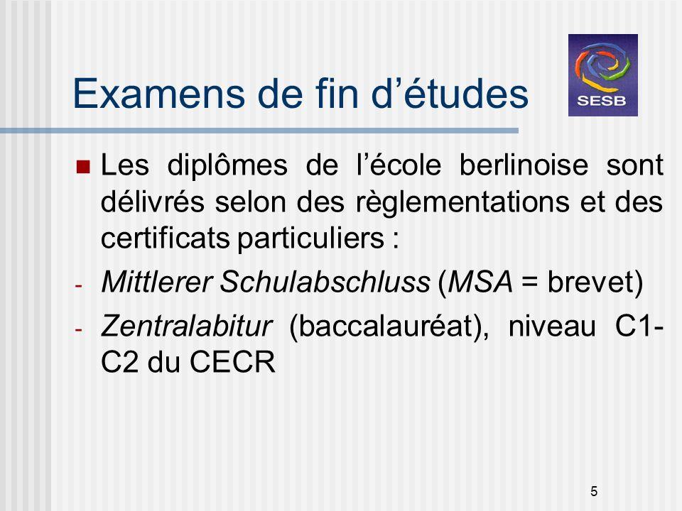 Examens de fin d'études
