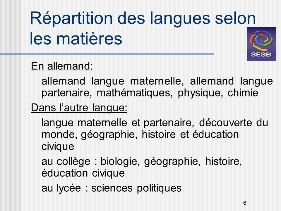Répartition des langues selon les matières