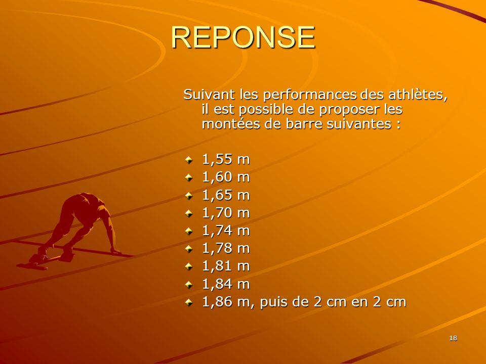 REPONSE Suivant les performances des athlètes, il est possible de proposer les montées de barre suivantes :