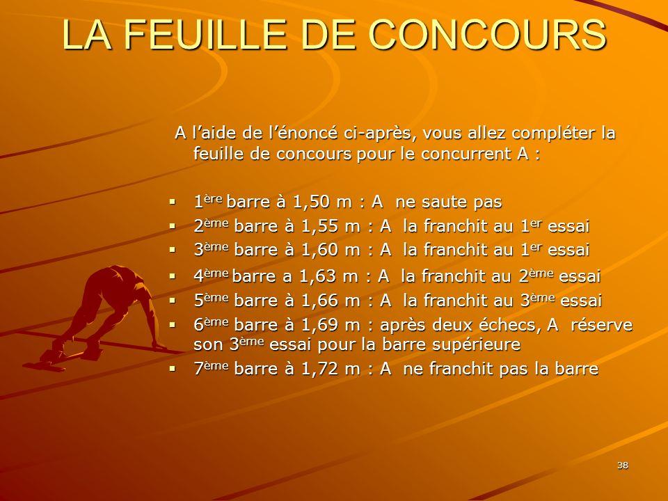 LA FEUILLE DE CONCOURS A l'aide de l'énoncé ci-après, vous allez compléter la feuille de concours pour le concurrent A :