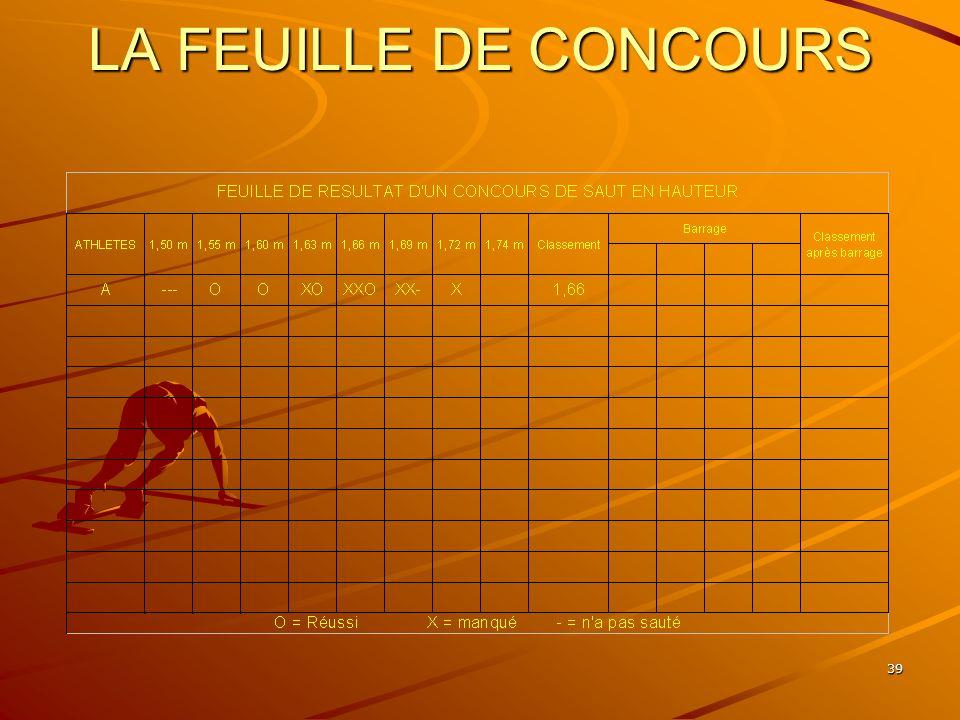 LA FEUILLE DE CONCOURS