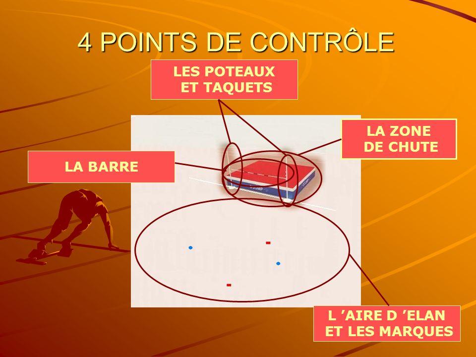 4 POINTS DE CONTRÔLE LES POTEAUX ET TAQUETS LA ZONE DE CHUTE LA BARRE
