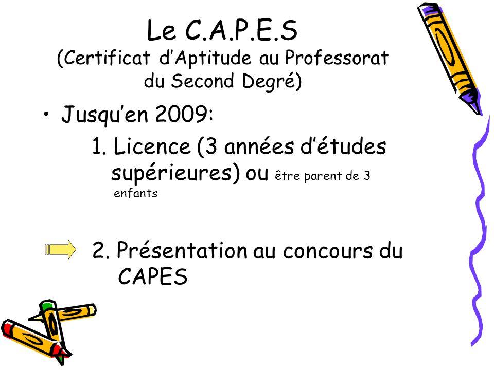Le C.A.P.E.S (Certificat d'Aptitude au Professorat du Second Degré)