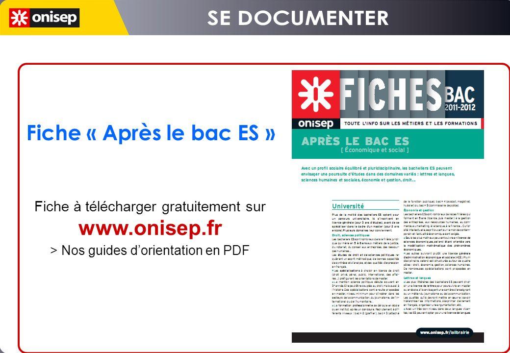 SE DOCUMENTER Fiche « Après le bac ES » www.onisep.fr