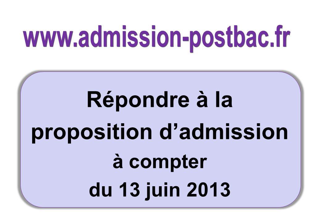 proposition d'admission