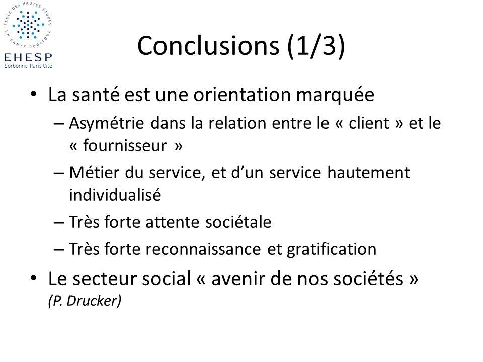 Conclusions (1/3) La santé est une orientation marquée