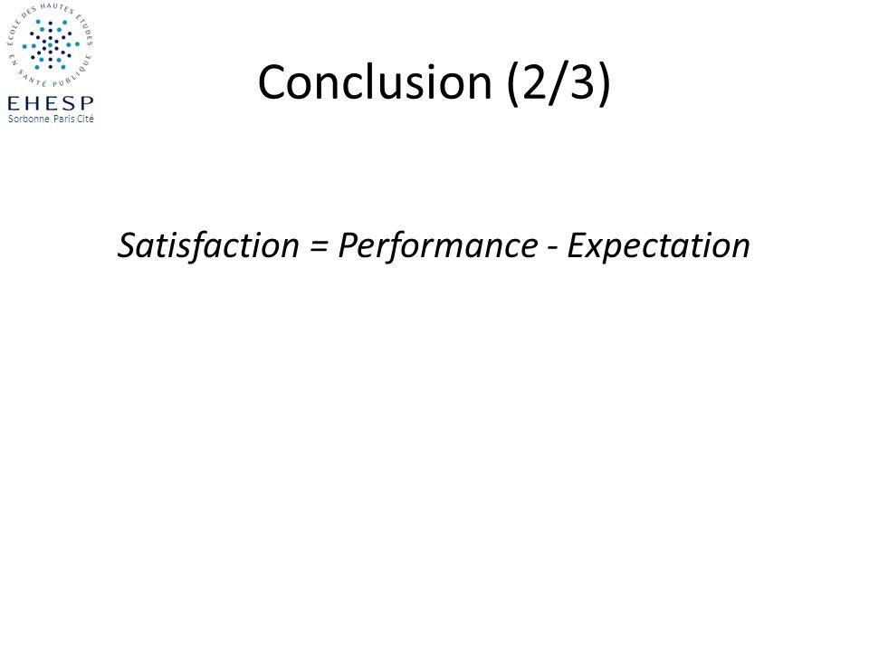 Satisfaction = Performance - Expectation