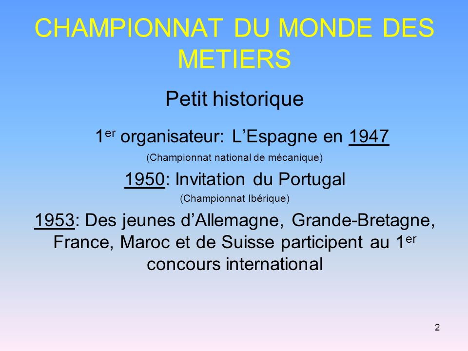 CHAMPIONNAT DU MONDE DES METIERS