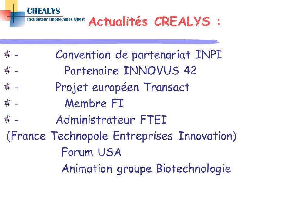Actualités CREALYS : - Convention de partenariat INPI