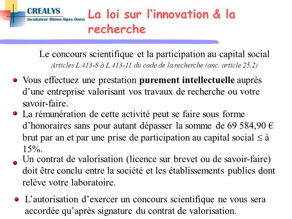 La loi sur l'innovation & la recherche