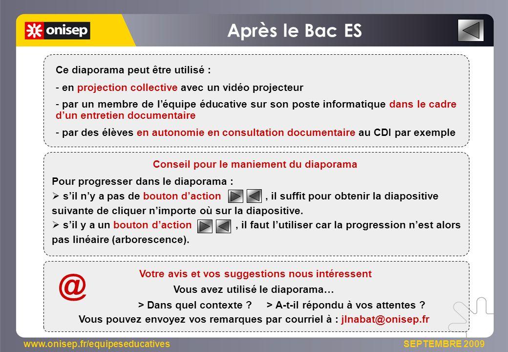 @ Après le Bac ES Ce diaporama peut être utilisé :