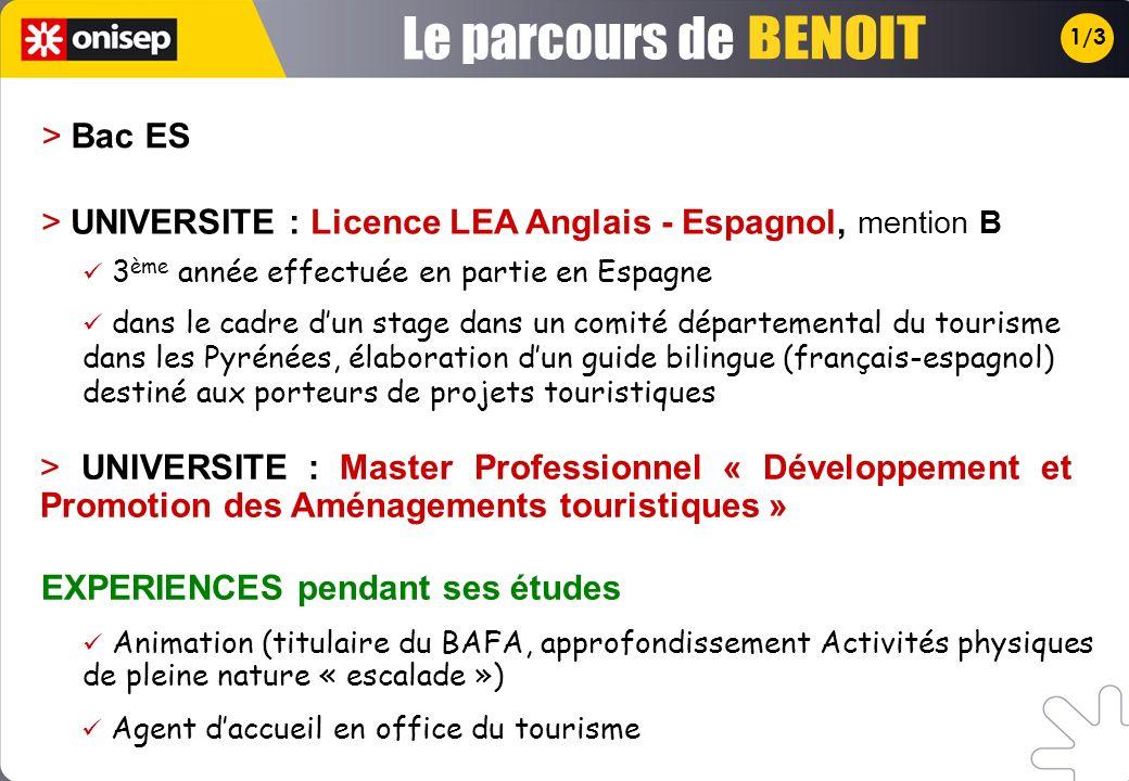 Le parcours de BENOIT > Bac ES