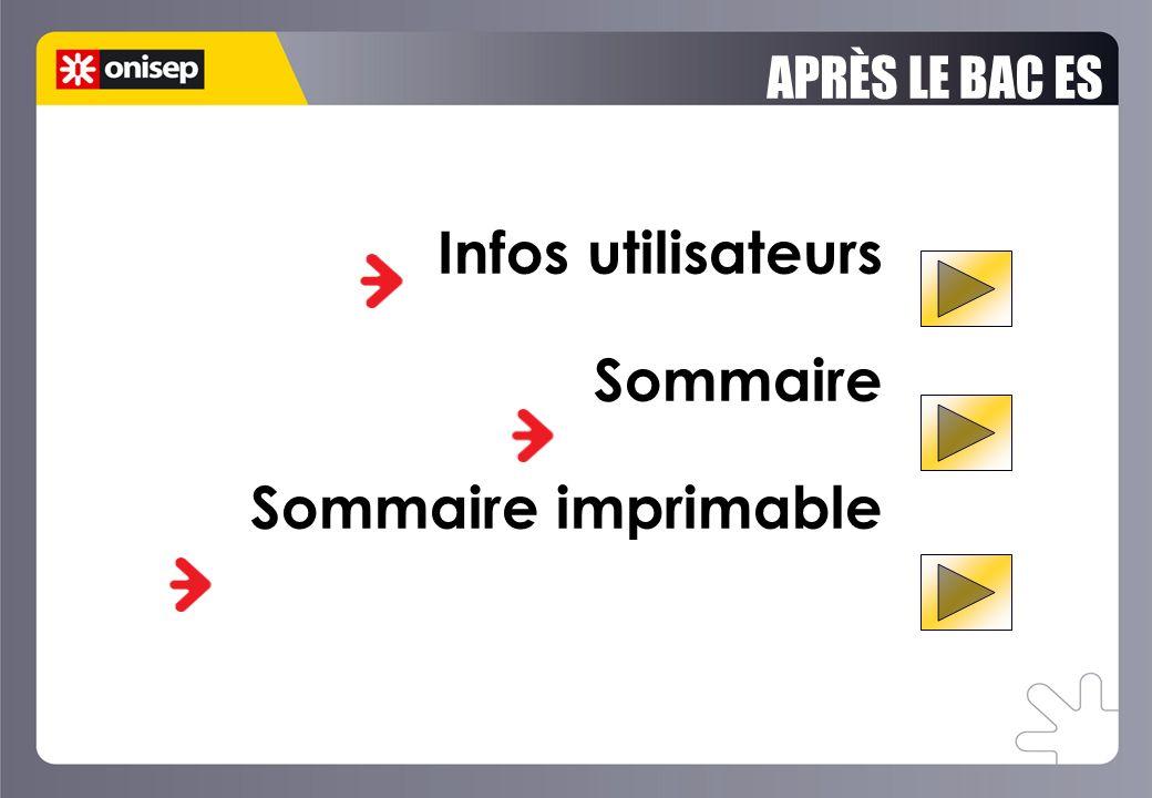 APRÈS LE BAC ES Infos utilisateurs Sommaire Sommaire imprimable