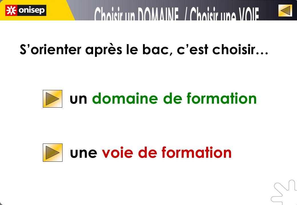 Choisir un DOMAINE / Choisir une VOIE
