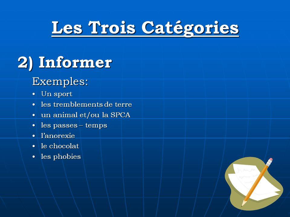 Les Trois Catégories 2) Informer Exemples: Un sport