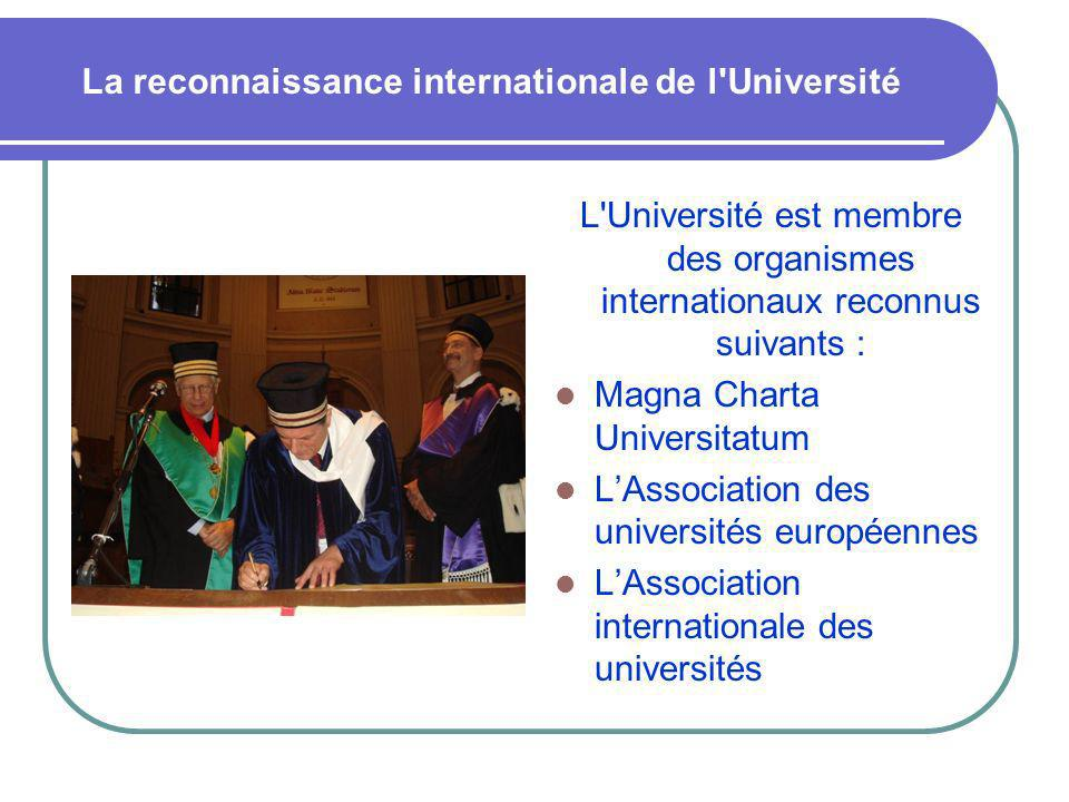 La reconnaissance internationale de l Université