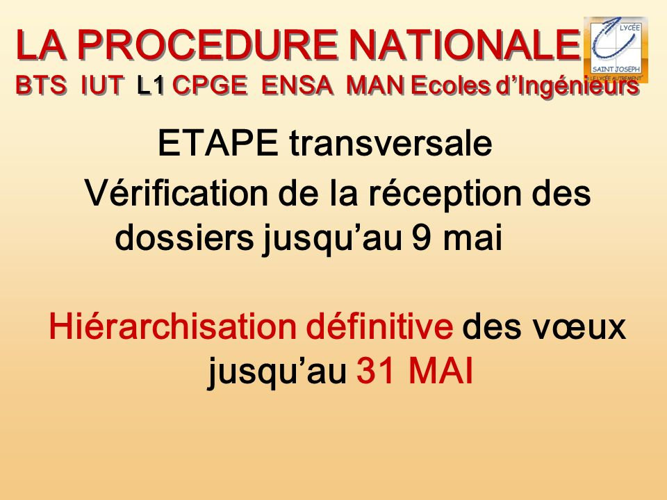 LA PROCEDURE NATIONALE