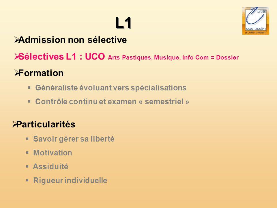 L1 Admission non sélective