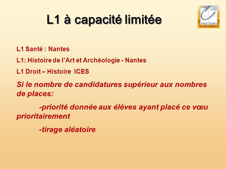 L1 à capacité limitée L1 Santé : Nantes. L1: Histoire de l'Art et Archéologie - Nantes. L1 Droit – Histoire ICES.