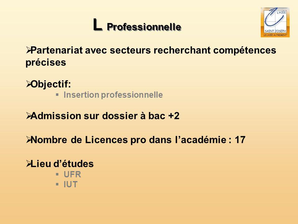 L Professionnelle Partenariat avec secteurs recherchant compétences précises. Objectif: Insertion professionnelle.