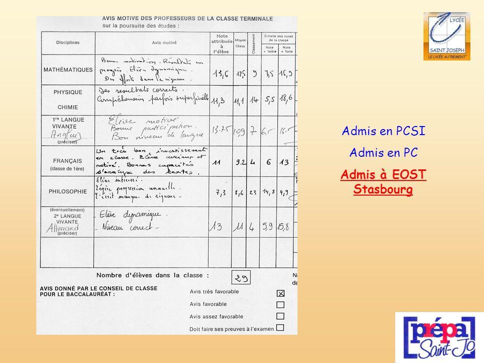 Admis en PCSI Admis en PC Admis à EOST Stasbourg