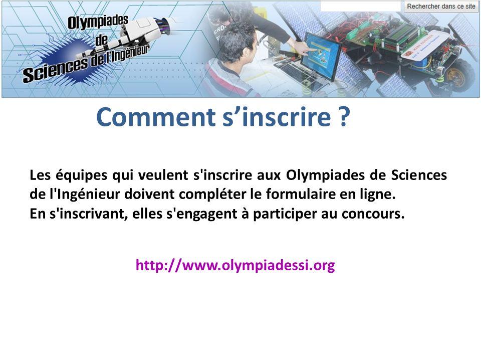 Comment s'inscrire Les équipes qui veulent s inscrire aux Olympiades de Sciences de l Ingénieur doivent compléter le formulaire en ligne.