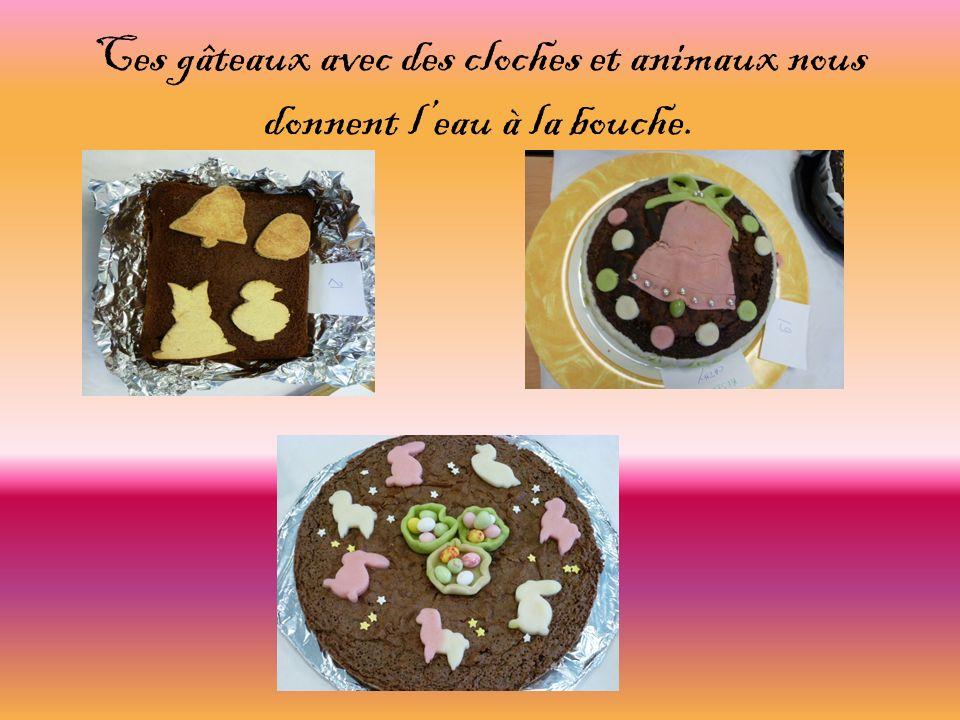 Ces gâteaux avec des cloches et animaux nous donnent l'eau à la bouche.