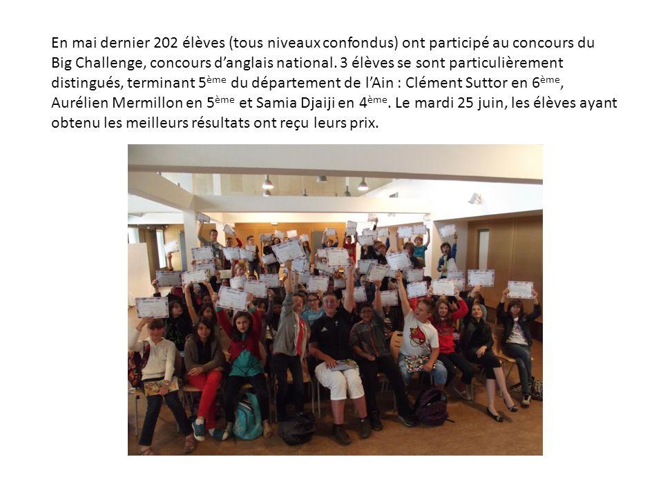 En mai dernier 202 élèves (tous niveaux confondus) ont participé au concours du Big Challenge, concours d'anglais national.