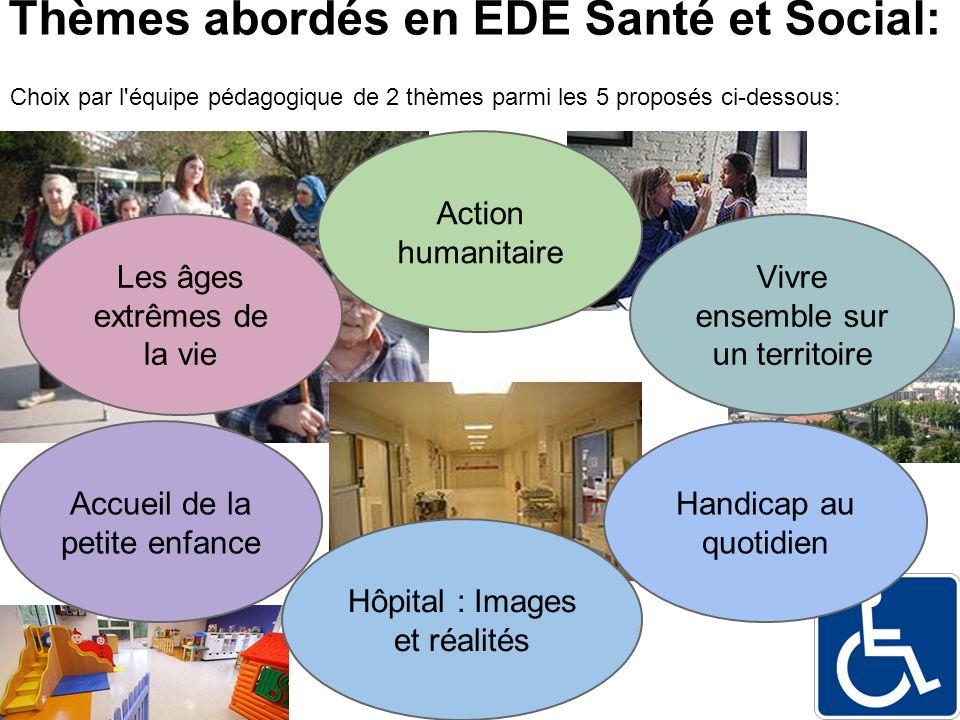 Thèmes abordés en EDE Santé et Social: