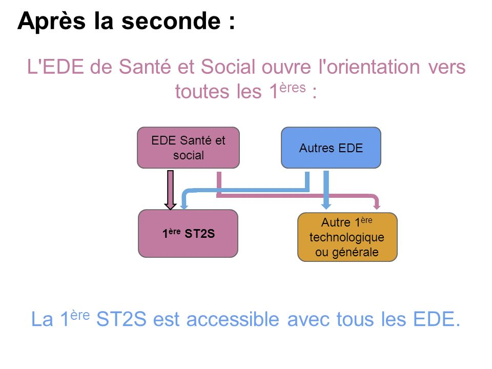 Après la seconde : L EDE de Santé et Social ouvre l orientation vers toutes les 1ères : EDE Santé et social.