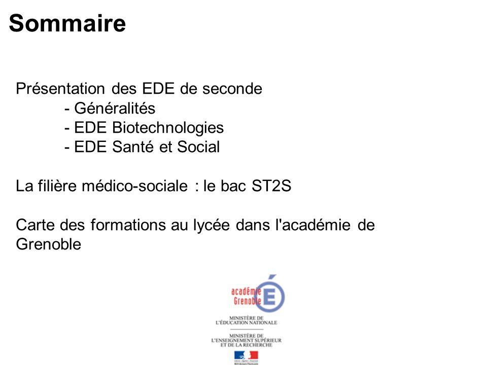 Sommaire Présentation des EDE de seconde - Généralités