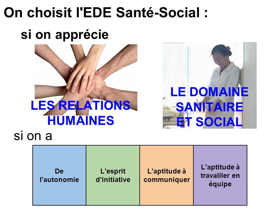On choisit l EDE Santé-Social :