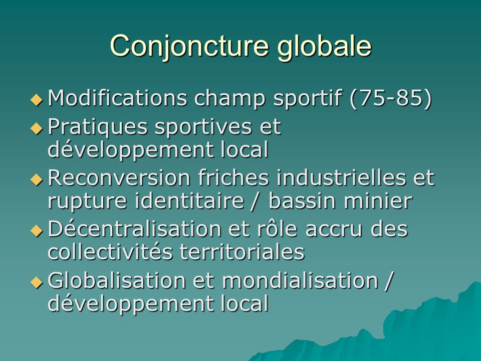 Conjoncture globale Modifications champ sportif (75-85)