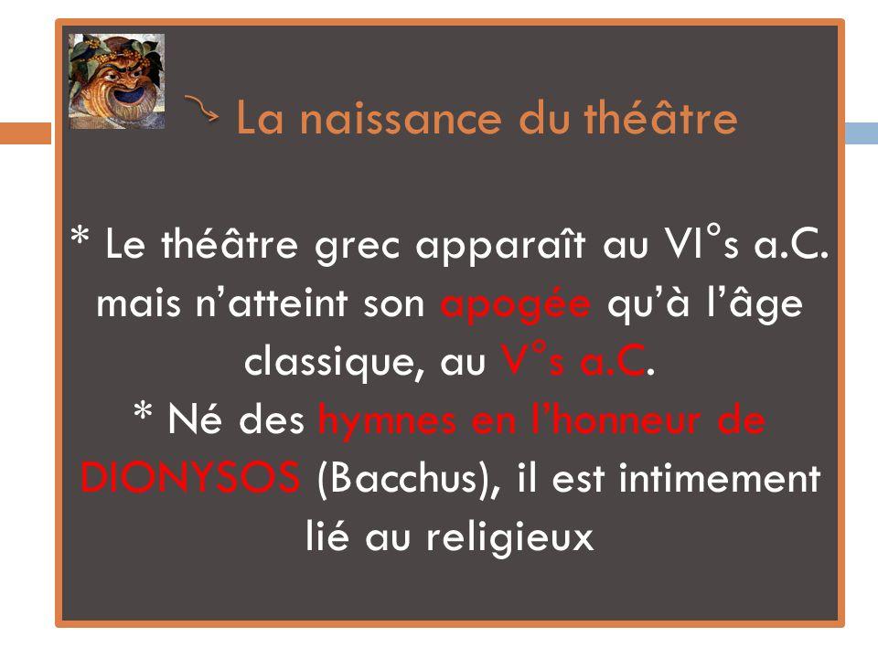La naissance du théâtre. Le théâtre grec apparaît au VI°s a. C