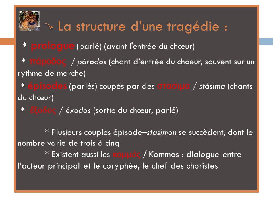 La structure d'une tragédie :  prologue (parlé) (avant l entrée du chœur)  πάροδος / párodos (chant d'entrée du choeur, souvent sur un rythme de marche)  épisodes (parlés) coupés par des στασιμα / stásima (chants du chœur)  ἔξοδος / éxodos (sortie du chœur, parlé) * Plusieurs couples épisode–stasimon se succèdent, dont le nombre varie de trois à cinq * Existent aussi les κομμός / Kommos : dialogue entre l'acteur principal et le coryphée, le chef des choristes