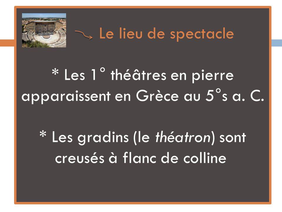 Le lieu de spectacle * Les 1° théâtres en pierre apparaissent en Grèce au 5°s a.