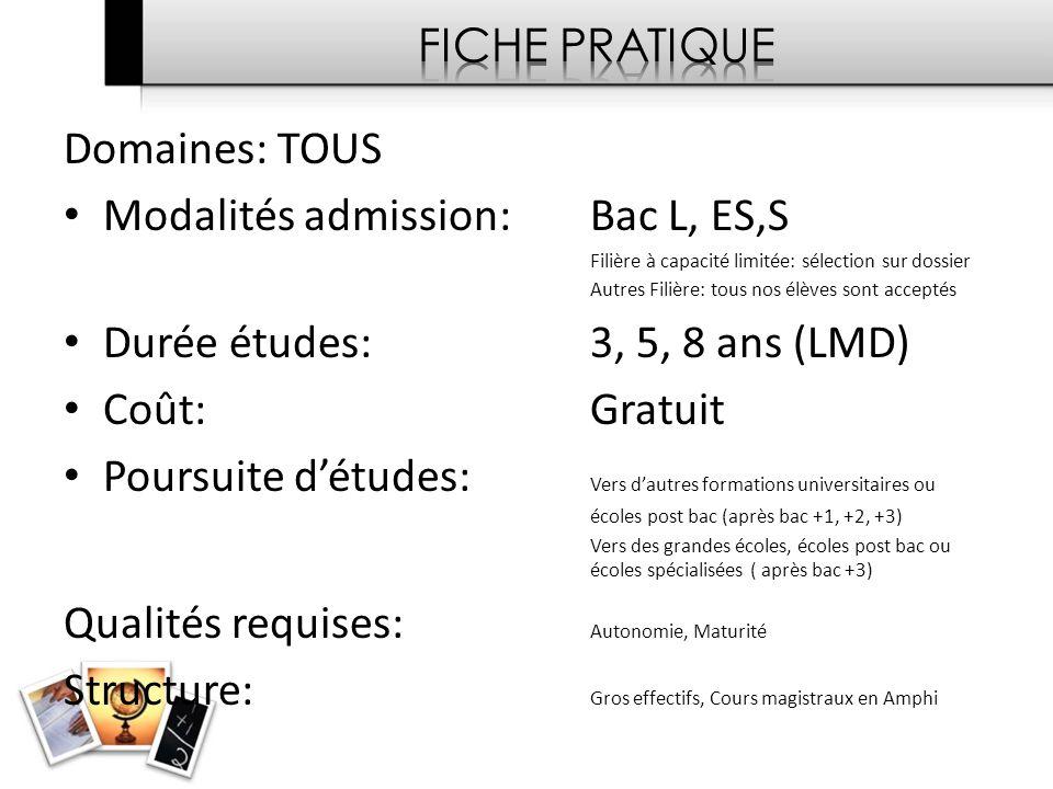 Modalités admission: Bac L, ES,S Durée études: 3, 5, 8 ans (LMD)