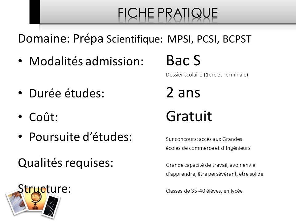 Domaine: Prépa Scientifique: MPSI, PCSI, BCPST