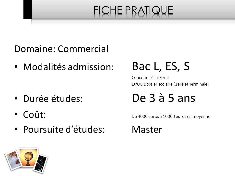 Modalités admission: Bac L, ES, S