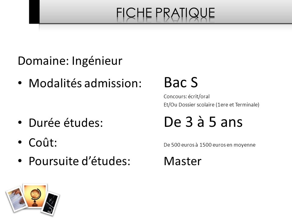 Modalités admission: Bac S