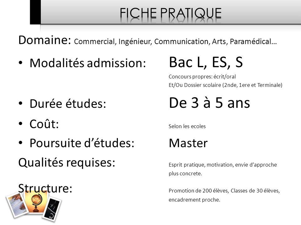 Domaine: Commercial, Ingénieur, Communication, Arts, Paramédical…