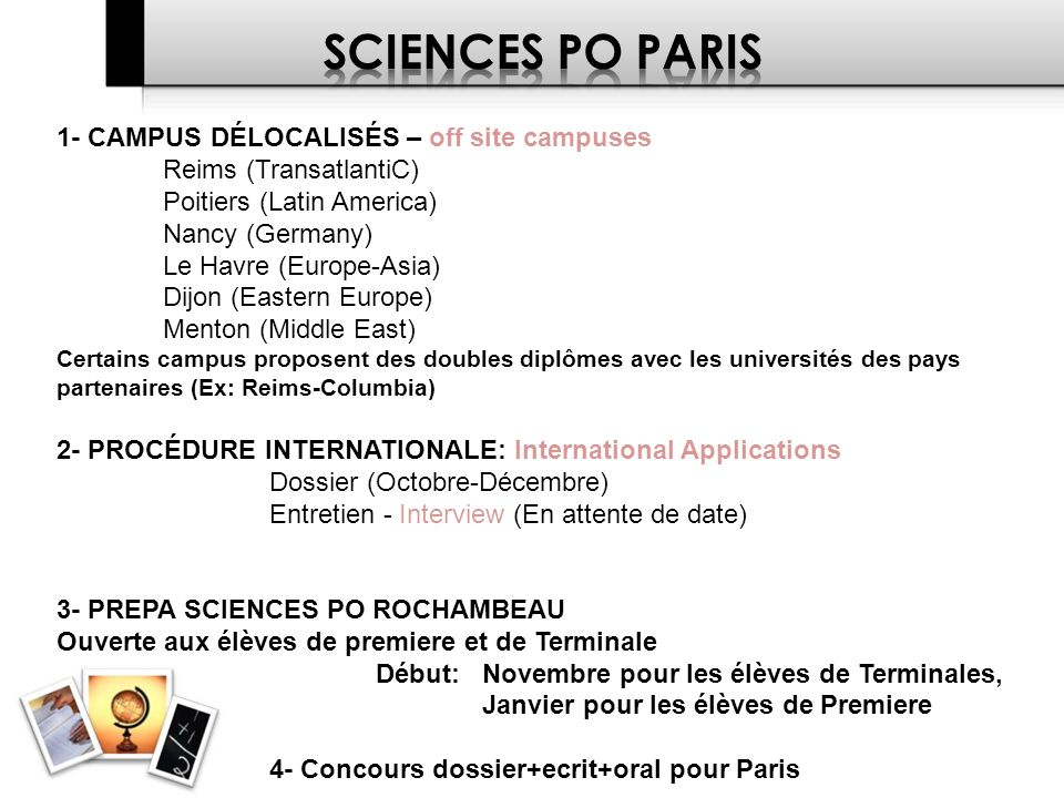 SCIENCES PO PARIS 1- CAMPUS DÉLOCALISÉS – off site campuses