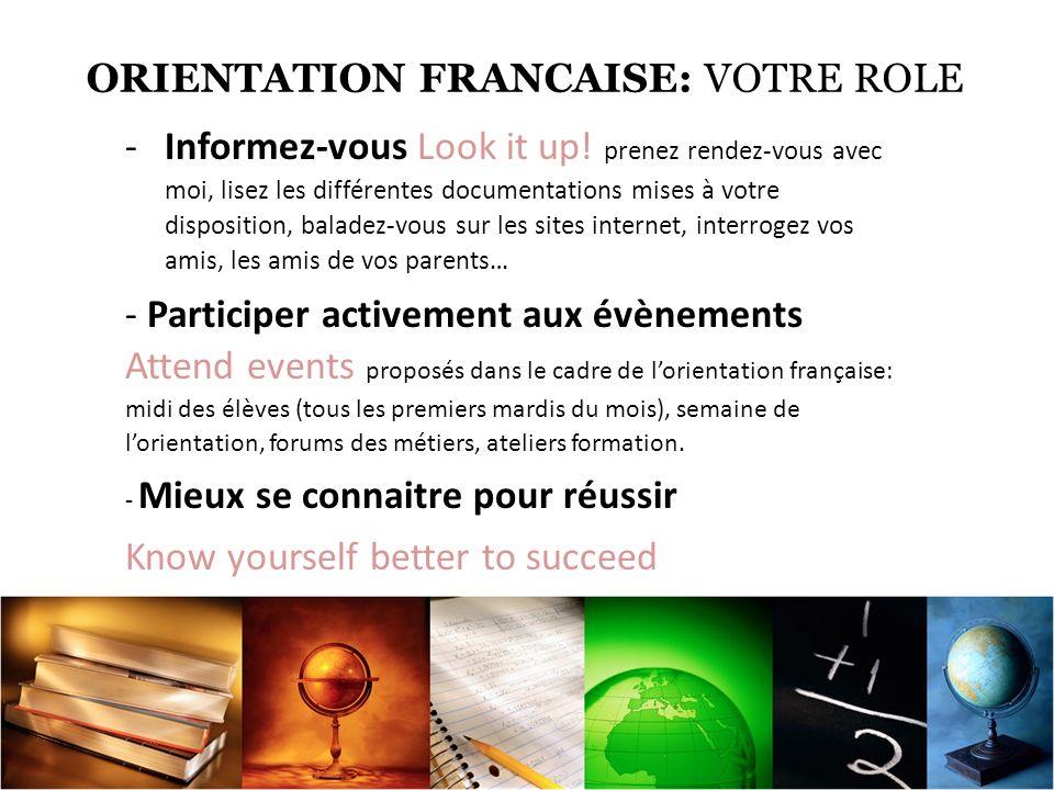 ORIENTATION FRANCAISE: VOTRE ROLE