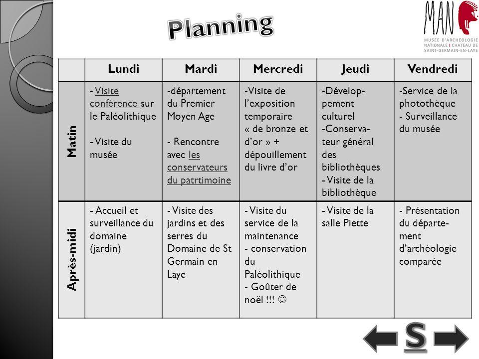 S Planning Lundi Mardi Mercredi Jeudi Vendredi Matin Après-midi