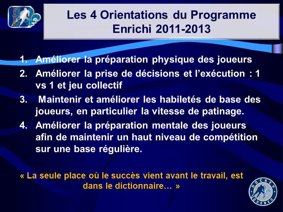 Les 4 Orientations du Programme Enrichi 2011-2013