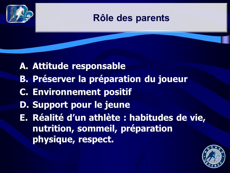 Rôle des parents Attitude responsable