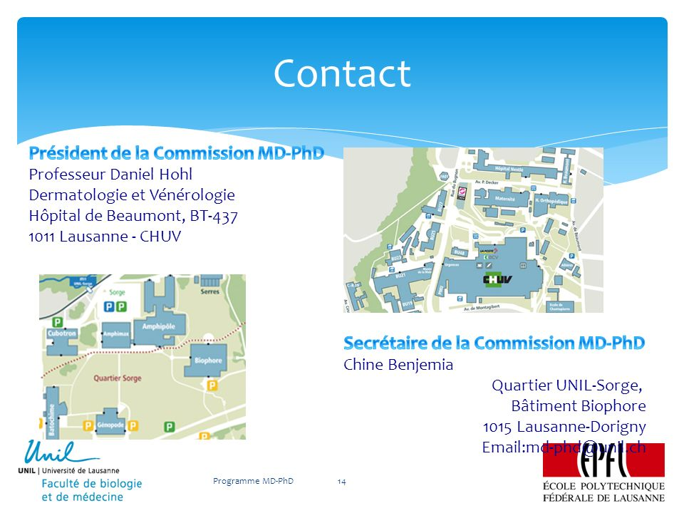 Contact Président de la Commission MD-PhD